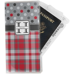 Red & Gray Dots and Plaid Travel Document Holder