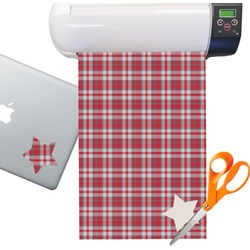 Red & Gray Dots and Plaid Sticker Vinyl Sheet (Permanent)