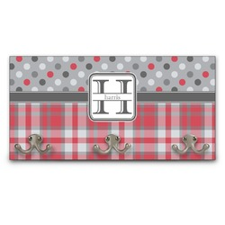 Red & Gray Dots and Plaid Wall Mounted Coat Rack (Personalized)