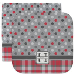Red & Gray Dots and Plaid Facecloth / Wash Cloth (Personalized)