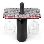 Red & Gray Dots and Plaid Wine Bottle & Glass Holder (Personalized)