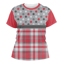 Red & Gray Dots and Plaid Women's Crew T-Shirt (Personalized)