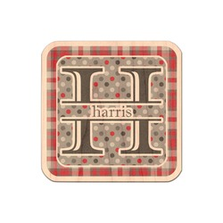 Red & Gray Dots and Plaid Genuine Wood Sticker (Personalized)