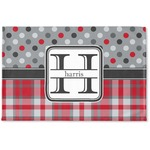 Red & Gray Dots and Plaid Woven Mat (Personalized)