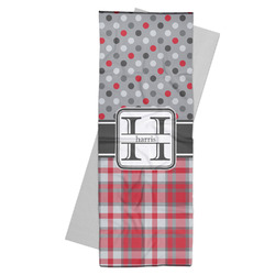 Red & Gray Dots and Plaid Yoga Mat Towel (Personalized)