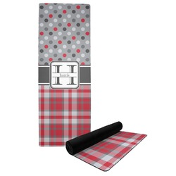 Red & Gray Dots and Plaid Yoga Mat (Personalized)