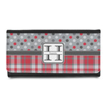Red & Gray Dots and Plaid Leatherette Ladies Wallet (Personalized)