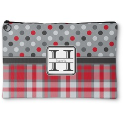Red & Gray Dots and Plaid Zipper Pouch (Personalized)