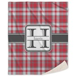 Red & Gray Plaid Sherpa Throw Blanket (Personalized)