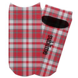 Red & Gray Plaid Adult Ankle Socks (Personalized)