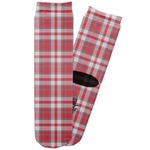 Red & Gray Plaid Adult Crew Socks (Personalized)