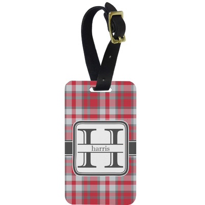 Red & Gray Plaid Metal Luggage Tag w/ Name and Initial