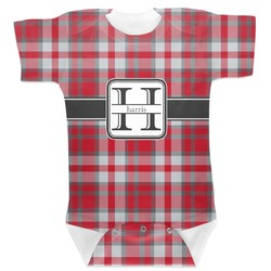 Red & Gray Plaid Baby Bodysuit (Personalized)