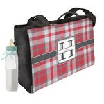 Red & Gray Plaid Diaper Bag w/ Name and Initial
