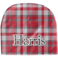 Red & Gray Plaid Baby Hat (Beanie) (Personalized)