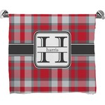 Red & Gray Plaid Full Print Bath Towel (Personalized)