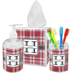 Red & Gray Plaid Acrylic Bathroom Accessories Set w/ Name and Initial