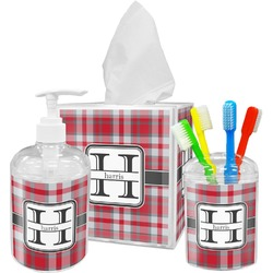 Red & Gray Plaid Bathroom Accessories Set (Personalized)