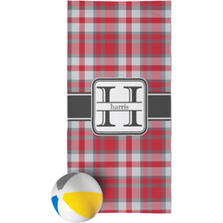Red & Gray Plaid Beach Towel (Personalized)