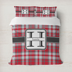 Red & Gray Plaid Duvet Cover (Personalized)