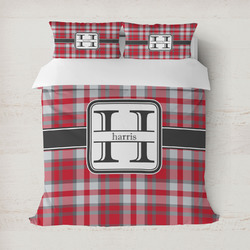 Red & Gray Plaid Duvet Covers (Personalized)