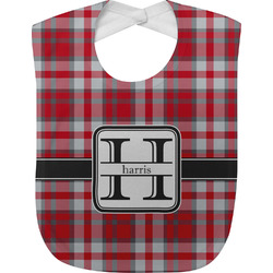 Red & Gray Plaid Baby Bib (Personalized)