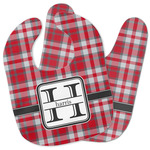 Red & Gray Plaid Baby Bib w/ Name and Initial