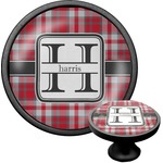 Red & Gray Plaid Cabinet Knob (Black) (Personalized)