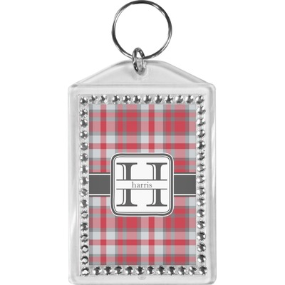 Red & Gray Plaid Bling Keychain (Personalized)