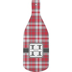 Red & Gray Plaid Bottle Shaped Cutting Board (Personalized)