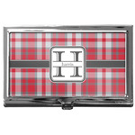 Red & Gray Plaid Business Card Case