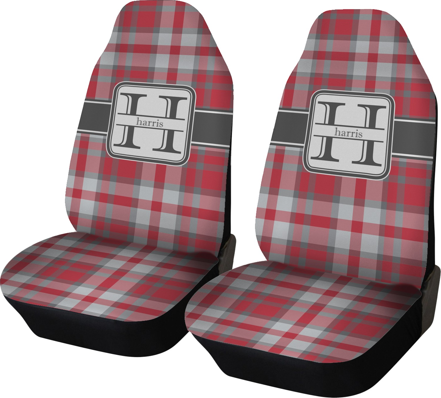 Red Amp Gray Plaid Car Seat Covers Set Of Two