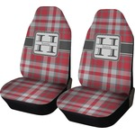 Red & Gray Plaid Car Seat Covers (Set of Two) (Personalized)