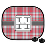 Red & Gray Plaid Car Side Window Sun Shade (Personalized)