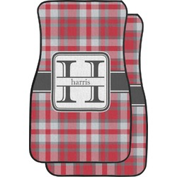Red & Gray Plaid Car Floor Mats (Front Seat) (Personalized)
