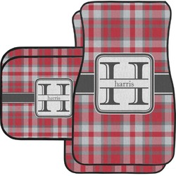 Red & Gray Plaid Car Floor Mats (Personalized)