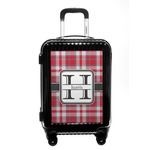 Red & Gray Plaid Carry On Hard Shell Suitcase (Personalized)