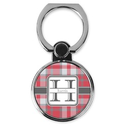 Red & Gray Plaid Cell Phone Ring Stand & Holder (Personalized)