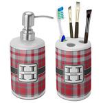 Red & Gray Plaid Bathroom Accessories Set (Ceramic) (Personalized)