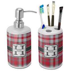 Red & Gray Plaid Bathroom Accessories Set (Ceramic) (Personalized)