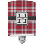 Red & Gray Plaid Ceramic Night Light (Personalized)