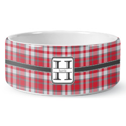Red & Gray Plaid Ceramic Dog Bowl (Personalized)