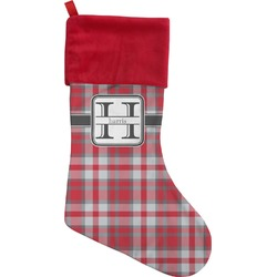 Red & Gray Plaid Christmas Stocking (Personalized)