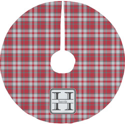 Red & Gray Plaid Tree Skirt (Personalized)