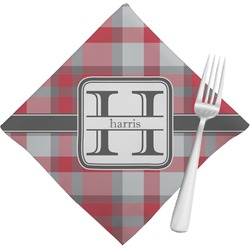 Red & Gray Plaid Napkins (Set of 4) (Personalized)