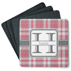 Red & Gray Plaid 4 Square Coasters - Rubber Backed (Personalized)