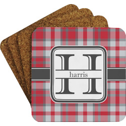 Red & Gray Plaid Coaster Set (Personalized)