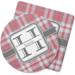 Red & Gray Plaid Rubber Backed Coaster (Personalized)
