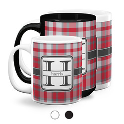 Red & Gray Plaid Coffee Mugs (Personalized)