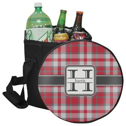 Red & Gray Plaid Collapsible Cooler & Seat (Personalized)